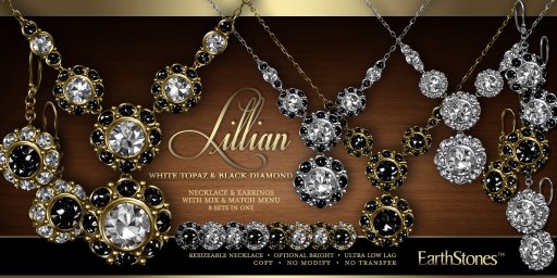 Lillian Collection - White Topaz & Black Diamond