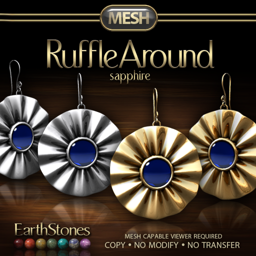 Ruffle Around Earrings - Sapphire