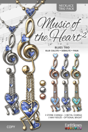 EarthStones Music of the Heart II Necklace - BluesTrio