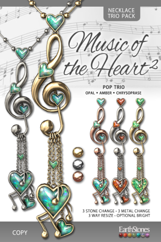 EarthStones Music of the Heart II Necklace - PopTrio