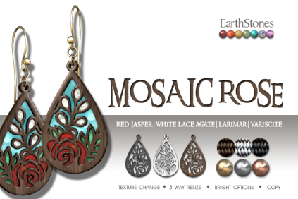EarthStones Mosaic Rose Earrings - Red Jasper